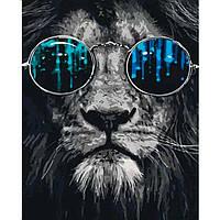 Картина раскраска по номерам на холсте - 40*50см Sultani ST8027-2/X826 Лев в очках