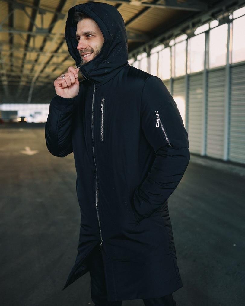 """Куртка мужская зимняя парка теплая модная DarkSide """"All Black"""" длинная черная с капюшоном. Живое фото"""