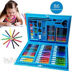 Детский набор для рисования ART kids set Rainbow комплект для детского творчества в кейсе 86 предметов Синий