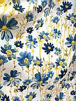 Ткань для штор, скатертей в стиле прованс, 50 % хлопок, крупные цветы, цвет синий