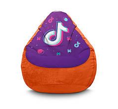 """Кресло мешок """"Tik Tok. Big logo. Orange"""" Флок"""