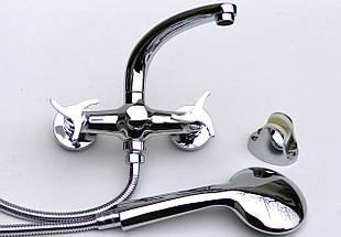 Латунный смеситель для ванны, смеситель для душа двухвентельный EURO, фото 2