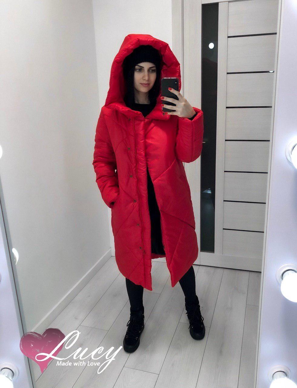 Куртка-пальто женская плащевка канада + синтепон 200, черный,красный,мокко