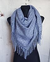 Теплый платок Миранда 105*105 см синий, фото 1