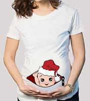 """Футболка для беременной с принтом """"Малыш в новогодней шапке"""" Push IT"""