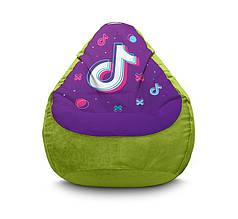 """Кресло мешок """"Tik Tok. Big logo. Green"""" Флок"""