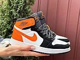 Кросівки Nike Air Jordan 1 Retro білі з помаранчевим. Кроссовки Найк Аир Джордан 1 Ретро демисезонные, фото 3