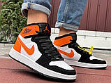 Кросівки Nike Air Jordan 1 Retro білі з помаранчевим. Кроссовки Найк Аир Джордан 1 Ретро демисезонные, фото 6
