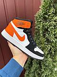 Кросівки Nike Air Jordan 1 Retro білі з помаранчевим. Кроссовки Найк Аир Джордан 1 Ретро демисезонные, фото 4