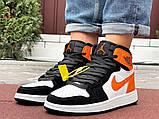 Кросівки Nike Air Jordan 1 Retro білі з помаранчевим. Кроссовки Найк Аир Джордан 1 Ретро демисезонные, фото 8
