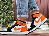 Кросівки Nike Air Jordan 1 Retro білі з помаранчевим. Кроссовки Найк Аир Джордан 1 Ретро демисезонные, фото 5