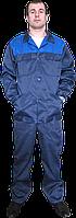Костюм рабочий тк. грета синий с волошковой кокеткой(с полукомбинезоном)
