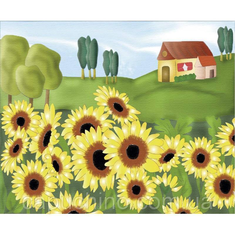 Картина розмальовка по полотну Рідні лани 25х35см Ідейка 7134/3 фарби в комплекті