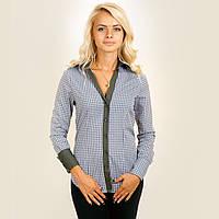 Рубашка женская в серую клетку. Длинный рукав,приталенная. С контрастной отделкой. Разм. XS-L. Davanti.