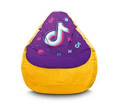 """Кресло мешок """"Tik Tok. Big logo. Yellow"""" Флок"""