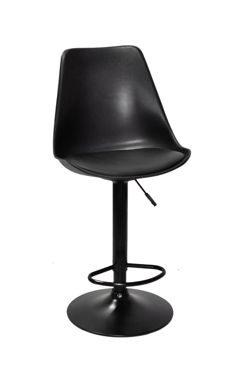 Барный стул Альберт ALBERT черный пластик + экокожа на черной ноге