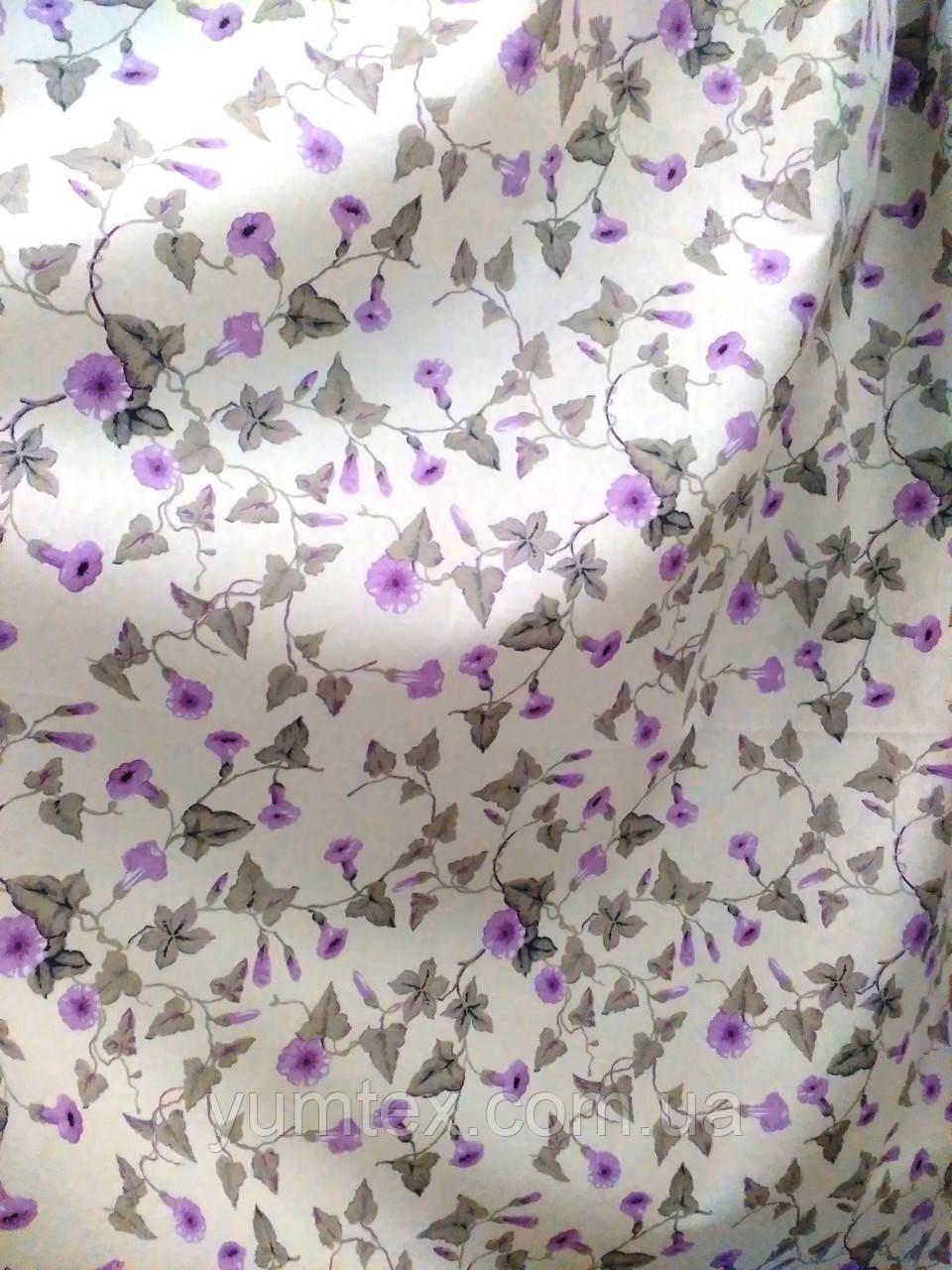 Ткань для штор, скатертей в стиле прованс, 50 % хлопок, колокольчики, цвет сирень