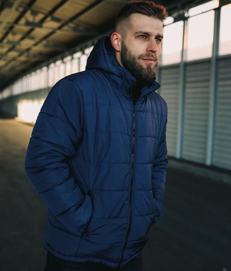 Куртка мужская зимняя теплая с капюшоном синяя Турция. Живое фото. Чоловіча куртка