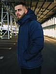 Куртка мужская зимняя теплая с капюшоном синяя Турция. Живое фото. Чоловіча куртка, фото 6