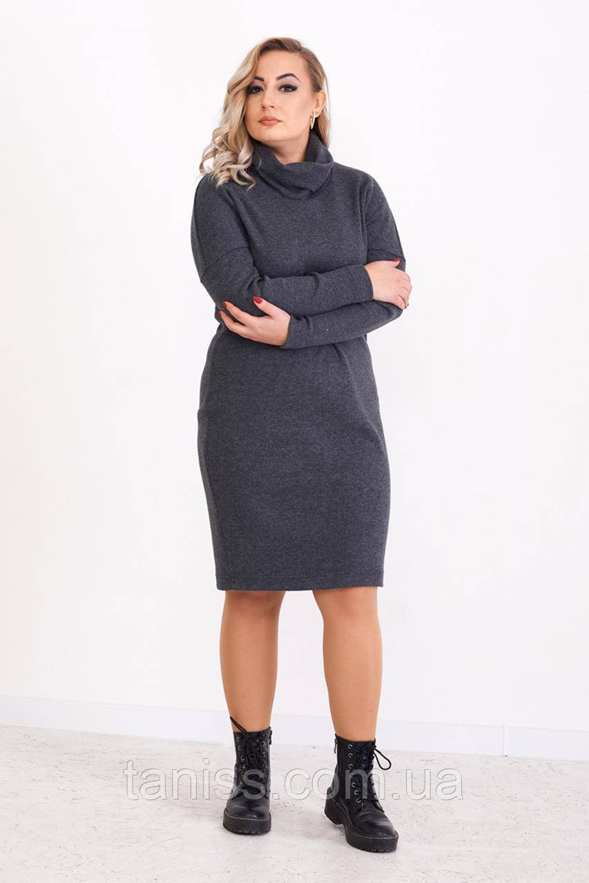 "Женское теплое платье миди ""Корнелия"", ткань трикотаж рубчик меланж. , размеры 48,50,52,54, серый,сукня"