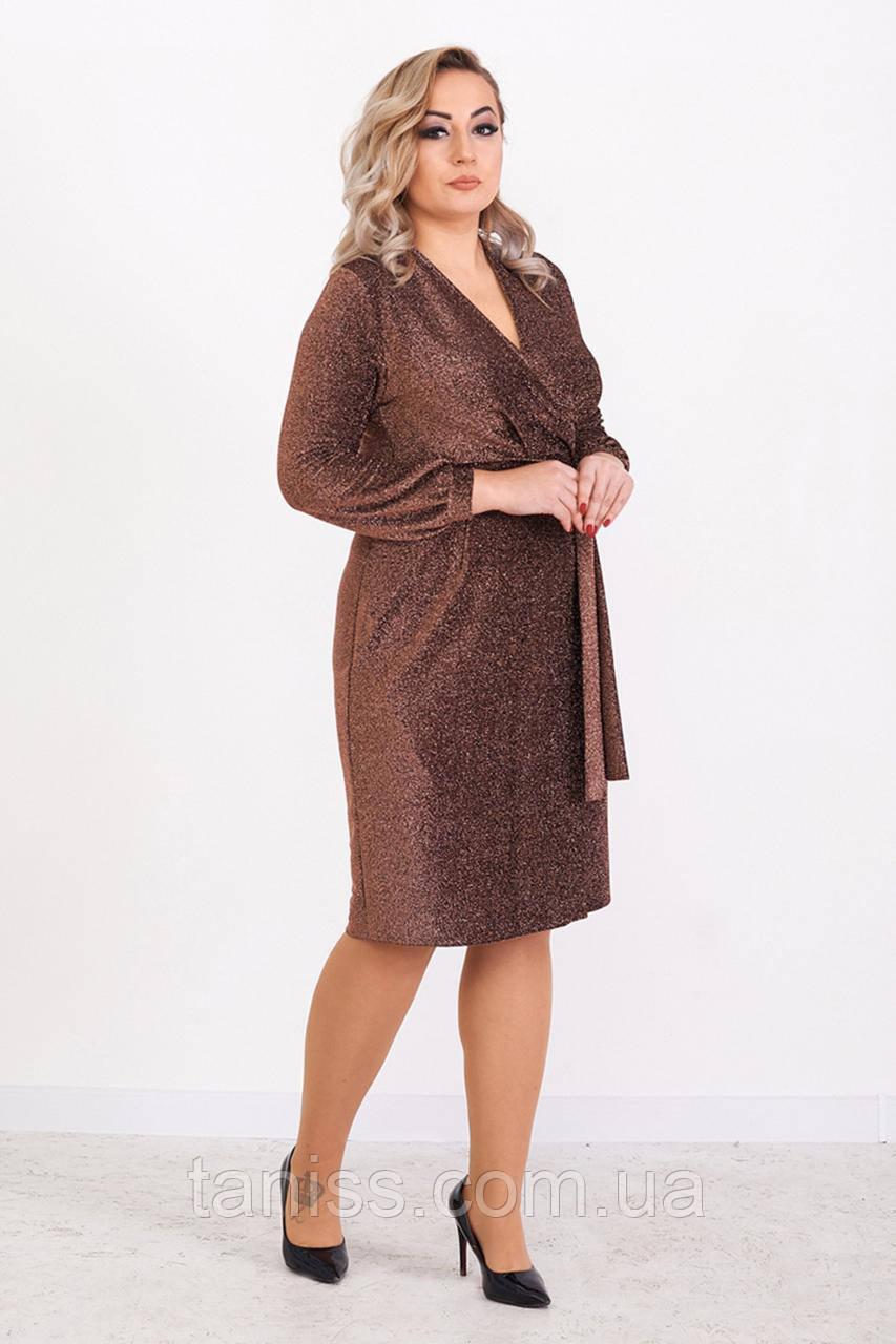 """Жіноча вечірня сукня """"Аманда, тканина трикотаж-люрекс. розміри 48,50,52 бронза,сукня"""