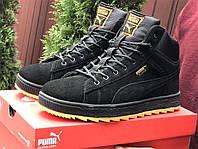 Чоловічі зимові кросівки PUMA Suede чорні з помаранчевим замшеві, фото 1
