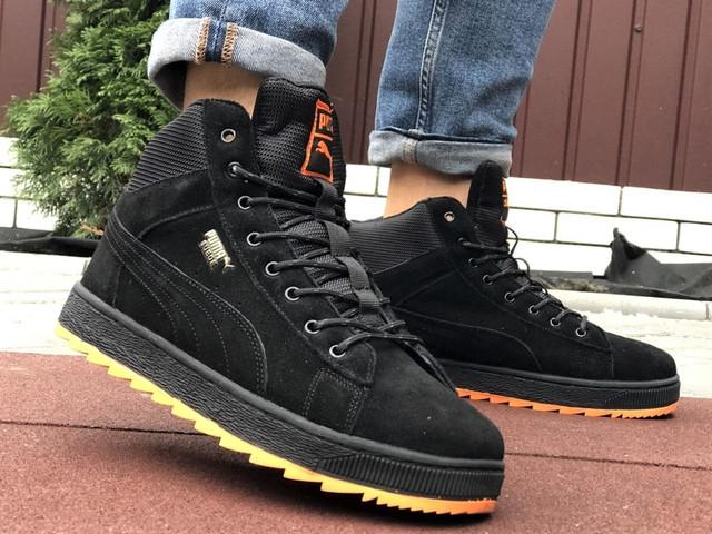 Чоловічі зимові кросівки PUMA Suede чорні з помаранчевим