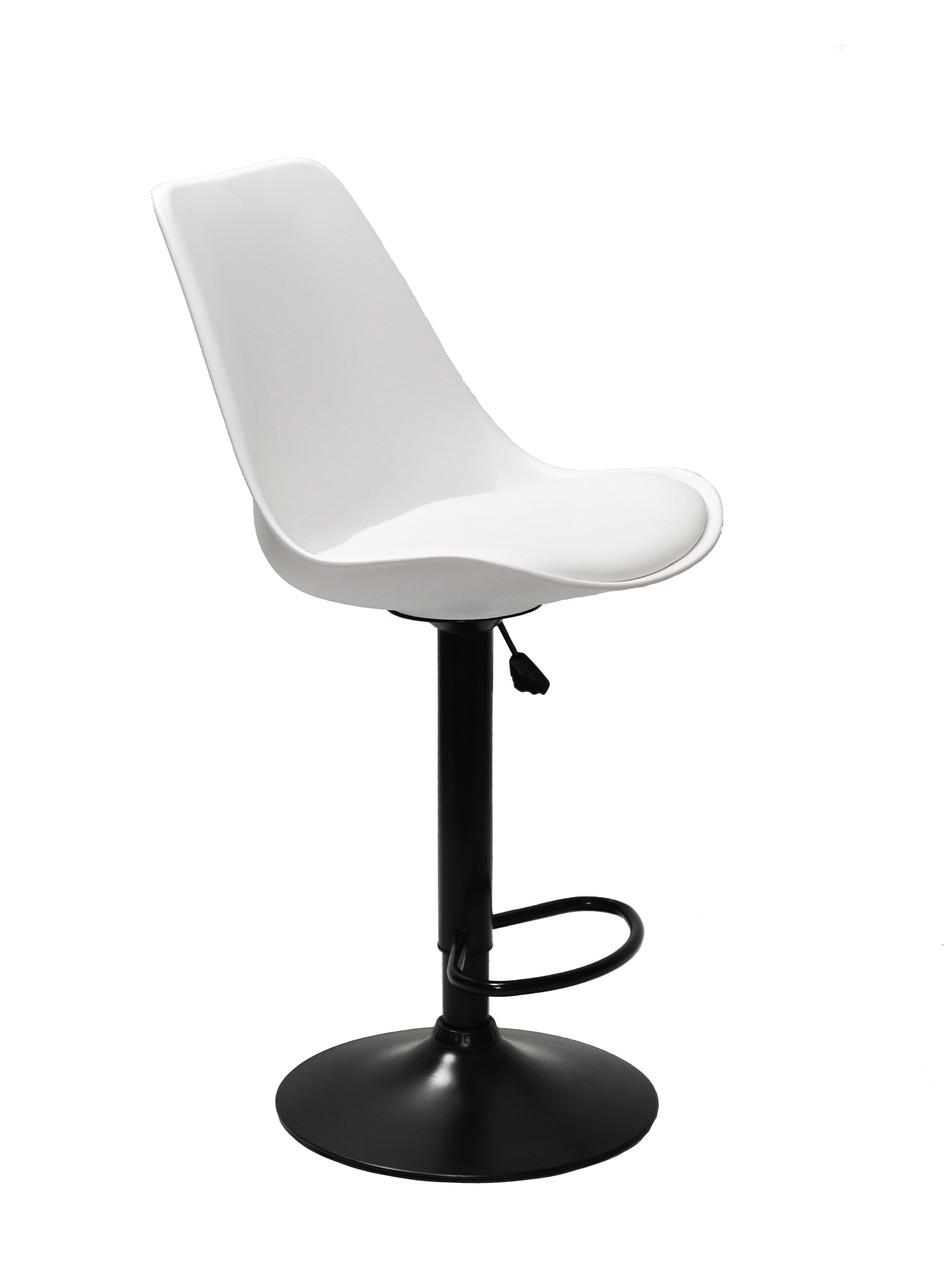 Барный стул Альберт ALBERT белый пластик + экокожа на черной ноге