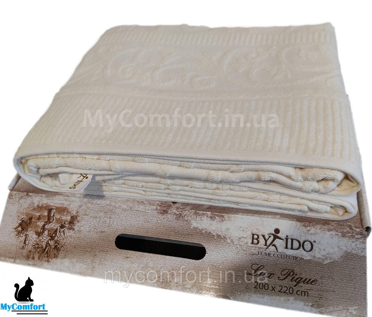 Махровый плед, махровое покрывало, махровая простынь BY IDO LuxPique 200x220. Крем