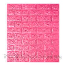 Декоративна 3D панель самоклейка під цегла Темно-рожевий 700х770х7мм