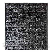 Декоративна 3D панель самоклейка під цеглу Чорний 700х770х7мм