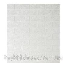 Декоративна 3D панель самоклейка під цеглу Білий 700х770х5мм (в упаковці 10 шт)