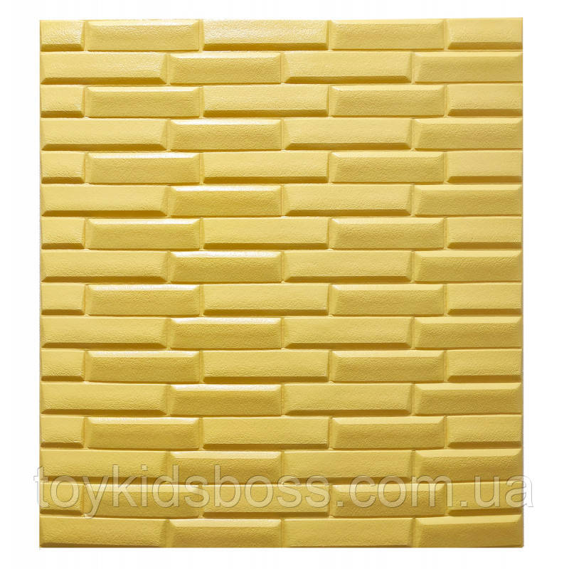 Самоклеющаяся декоративная 3D панель желтая кладка 770х700х7 мм