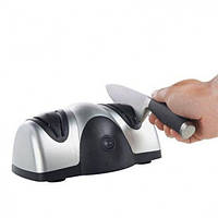 Электрическая точилка для ножей Knife Sharpener на присосках две системы заточки Черно-серебристая