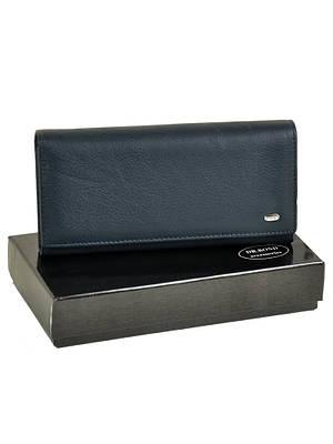 Большой кожаный женский кошелек DR. BOND W1-V dark-blue
