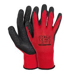 Рукавиці робочі вампірки стрейч червоний з гумовим чорним обливом р.10 416734