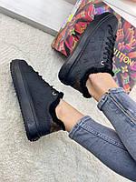Черные кроссовки Луи Виттон с мехом Louis Vuitton Time out white кожа кожаные зима овчина мех Луи Витон