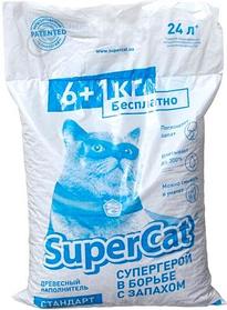 Наповнювач деревне SuperCat (Суперкет) Стандарт без аромату 6+1 кг для котячого туалету