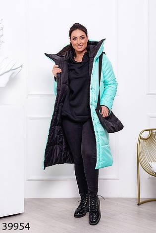 Пальто женское теплое длинное с капюшоном зимнее размеры44-60, фото 2