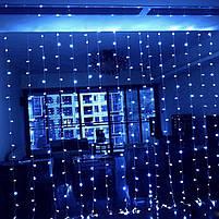 Электрическая гирлянда новогодняя Multi Function водопад штора занавес звездопад LED 320L 3х3 м белый холодный, фото 4