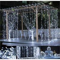 Электрическая гирлянда новогодняя Multi Function водопад штора занавес звездопад LED 320L 3х3 м белый холодный, фото 8
