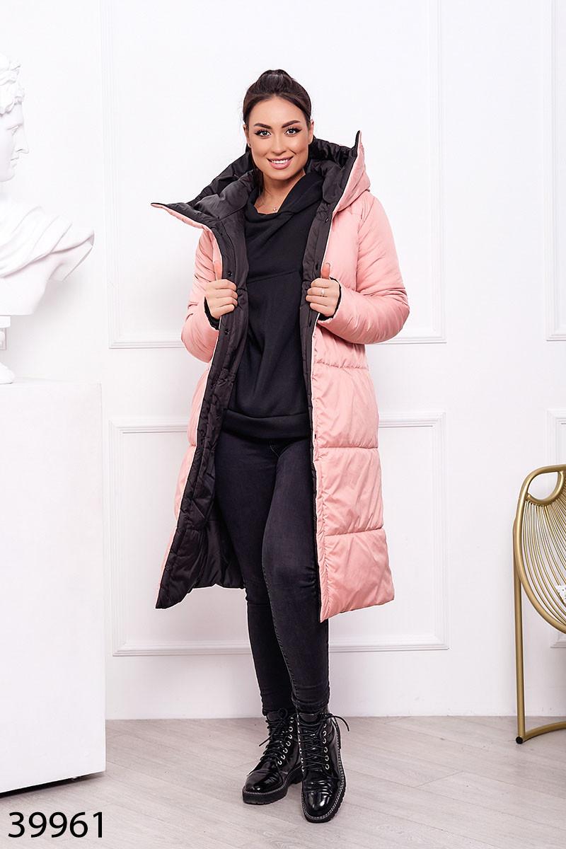 Пальто женское теплое длинное с капюшоном зимнее размеры44-60
