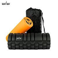 Массажный роллер (ролик, валик) HeartBeat 2-в-1 Foam Roller Black/Orange (33х14 см)