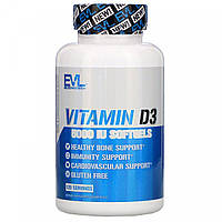 Витамины Evlution Nutrition, Vitamin D3, 5,000 IU, 120 Softgels