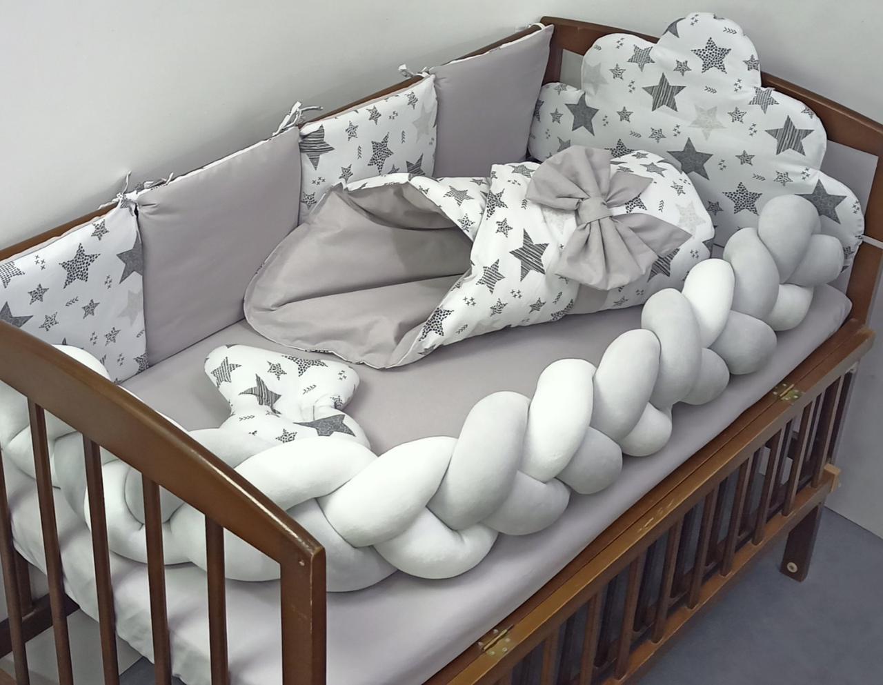 Детский постельный набор в кроватку с косичкой