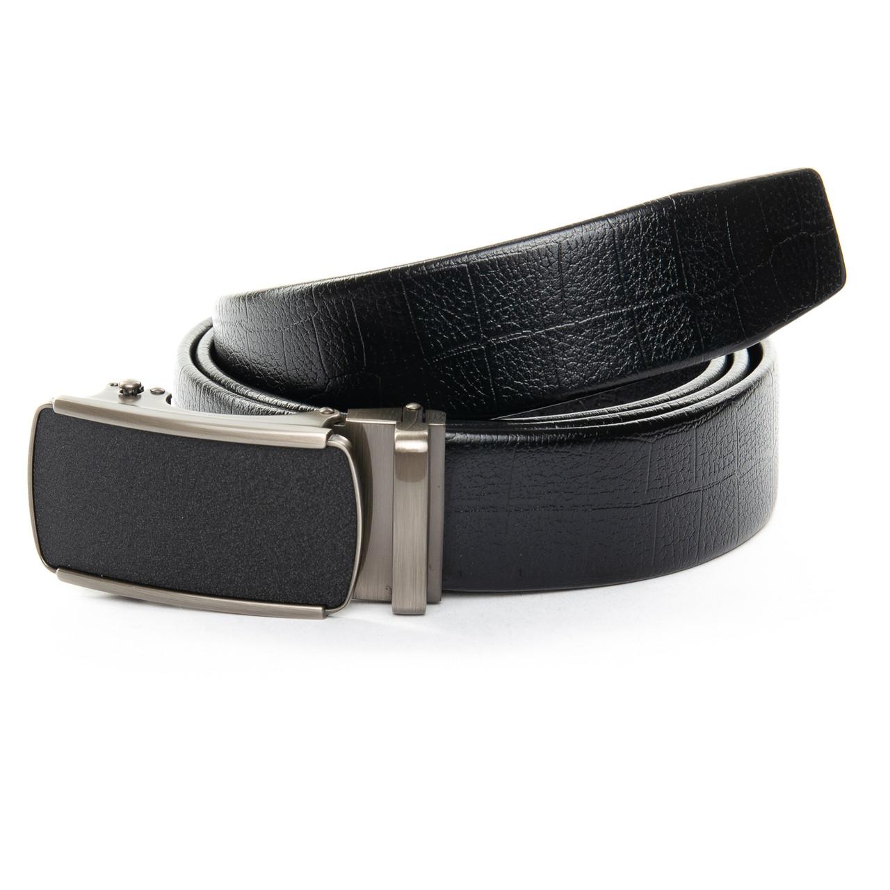 """Кожаный мужской ремень для брюк с пряжкой """"Автомат"""" 125см C40-1050-1 black"""