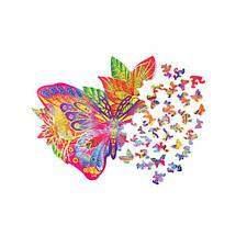 Цветной пазл Драгоценная Бабочка (170 деталей) Wood Trick - механический деревянный 3D пазл конструктор, фото 2