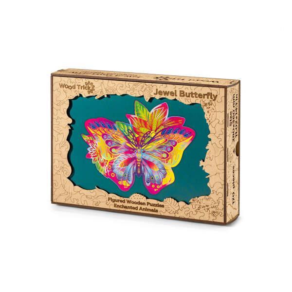 Цветной пазл Драгоценная Бабочка (170 деталей) Wood Trick - механический деревянный 3D пазл конструктор