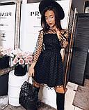 Сукня жіноча в горошок чорне, рожеве, марсала, фото 2