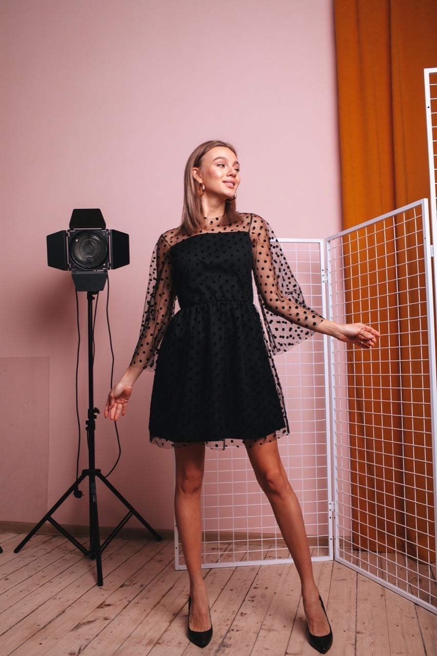 Платье женское вечернее  в горошек чёрное